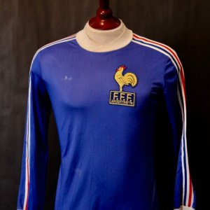 A Michel Platini Game-Issued #15 France International Home Shirt.  1978 FIFA World Cup Argentina.