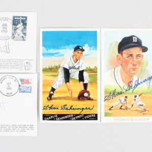 George Brett & Charlie Gehringer Signed Post Cards & FDC Lot (5) - COA JSA