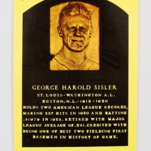 George Sisler Signed Post Card Yellow HOF - COA JSA