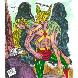 Sheldon Moldoff Art Original Hawkman Watercolor