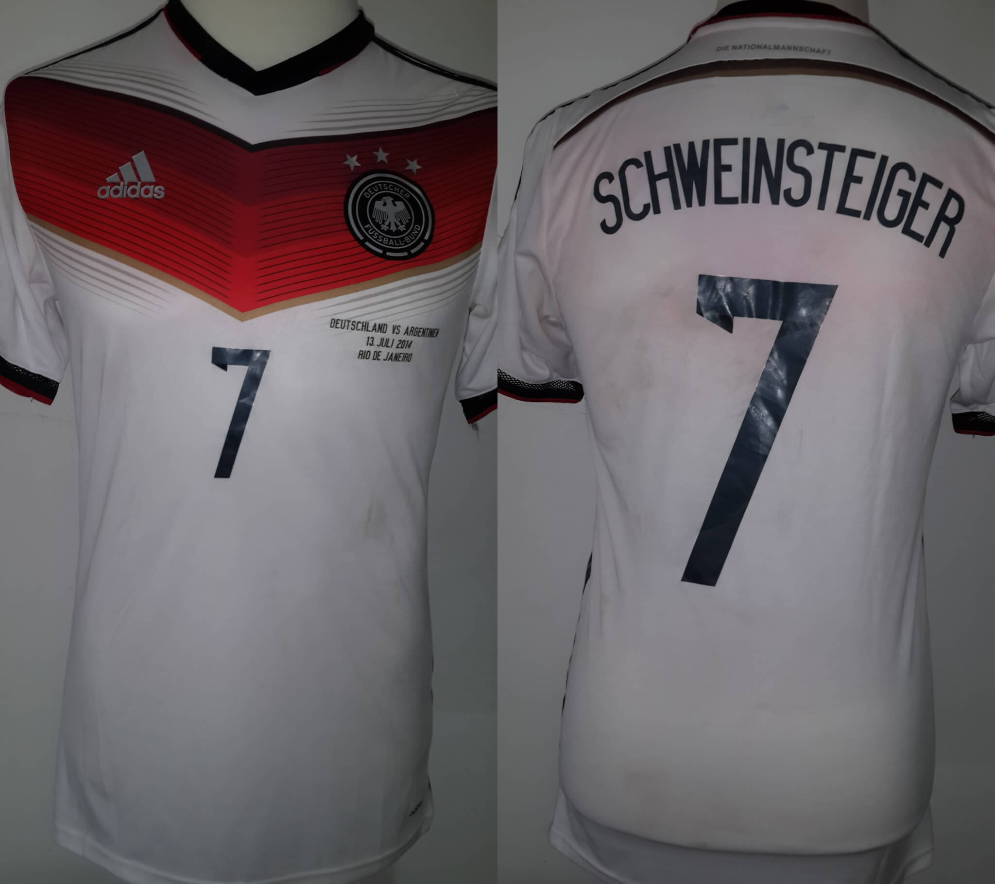 A Bastian Schweinsteiger Game Used & Unwashed #7 Germany National Team Home Shirt FIFA World Cup 2014 Final Match