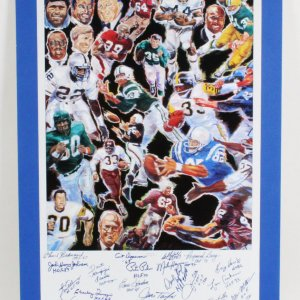 NFL HOFer's Multi-Signed Legends II Lithograph (19) - COA JSA