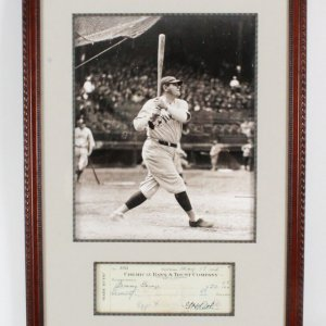 Babe Ruth Signed Check Display - COA JSA