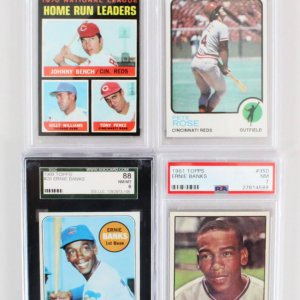Vintage Baseball Card Graded Lot (4)  Banks, Rose,Bench