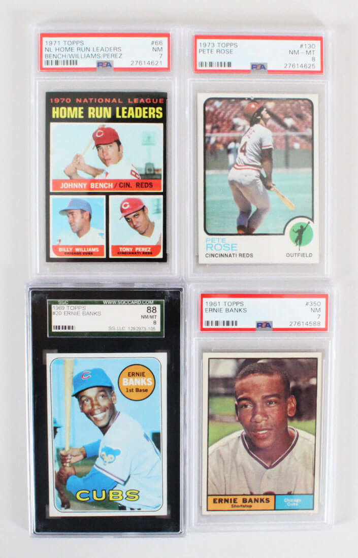 Vintage Baseball Card Graded Lot 4 Banks Rosebench