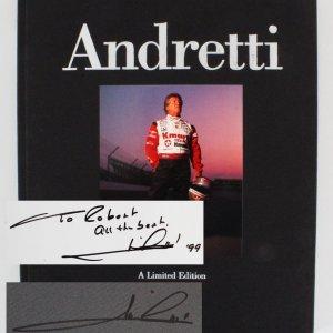 Mario Andretti Signed Book (Twice) - COA