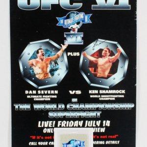 Dan Severn & Ken Shamrock Signed UFC 6 Poster SEG with Credential - COA JSA