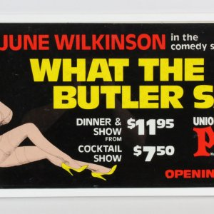 June Wilkinson What The Butler Saw Marquee Ad Plaza Las Vegas