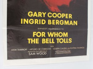 1957 For Whom The Bell Tolls Move Poster One Sheet R57/182