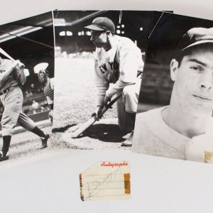 Joe DiMaggio Signed Cut W/ Vintage Photos (3) - COA JSA