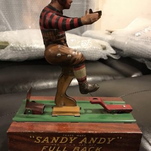 "Sandy Andy Fullback Football vintage working 1919 TIN TOY "" Wolverine Antique"