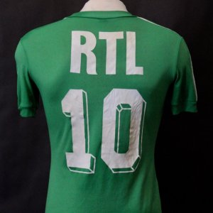 A Michel Platini Game-Used #10 St. Etienne French Cup Shirt.  Circa 1979-1982.