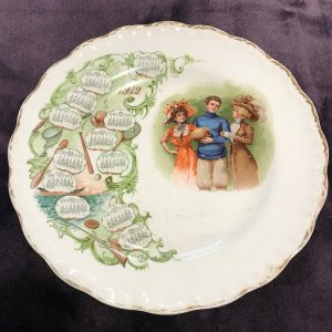 Antique 1912 Yale University Calendar Plate Carnation-McNicol