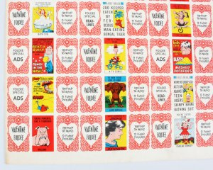 1963 Topps Funny Valentine Cards Uncut Sheet of 24