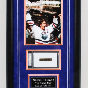Wayne Gretzky Signed Cut Display Oilers - COA PSA/DNA