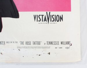 1955 The Rose Tattoo Movie Poster One Sheet 55/350