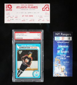 Wayne Gretzky Signed Hockey Stick Display w/ Graded RC Card - COA JSA & PSA