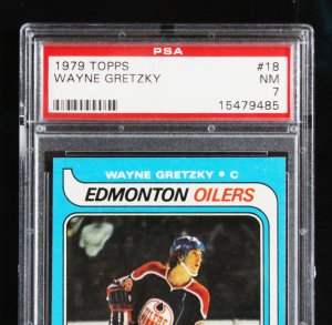 Wayne Gretzky Signed Hockey Stick Display w/ Graded RC Card - COA JSA & PSA
