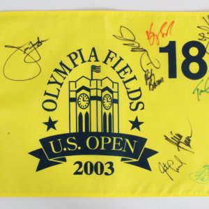 2003 US Open Signed Golf Flag 9 w/ Jim Furyk - COA JSA