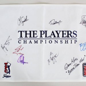 The Players Championship Multi-Signed Golf Pin Flag - COA JSA