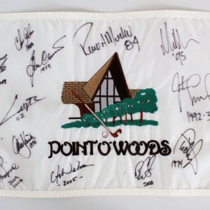 Point O'Woods Multi-Signed Golf Pin Flag - COA JSA