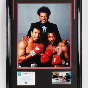 Muhammad Ali & Joe Frazier Signed Photo Display