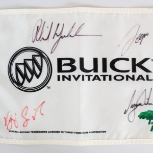 Tiger Woods Signed Flag Pin Golf w/(3) Phil Mickelson etc. - COA PSA/DNA