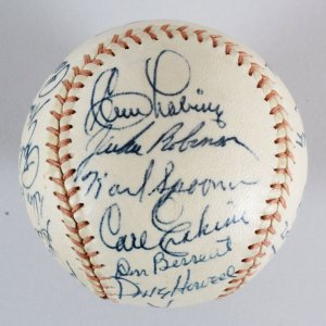 1955 Dodgers Team-Signed Baseball WS Champs - COA JSA
