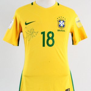 2016 Giuliano Game-Worn, Signed Jersey Brazil National Team