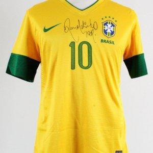2012 Ronaldinho Game-Worn, Signed Jersey Brazil National Team