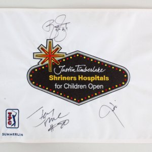 Justin Timberlake Signed Golf Flag w/Rickie Fowler & Jerry Rice - COA JSA