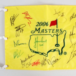 2006 Masters Multi-Signed Golf Pin Flag - COA JSA