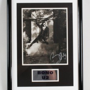 Bono Signed Photo Display U2 - COA JSA