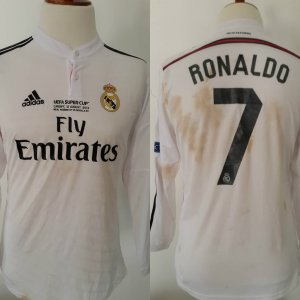 A Cristiano Ronaldo Game-Used & Unwashed #7 Real Madrid Home Shirt 2014 UEFA Super Cup. Real Madrid C.F. v Sevilla FC (2-0). Ronaldo Scored Both Goals
