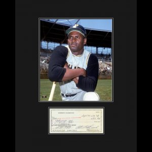 Roberto Clemente with Reproduction Check Framed