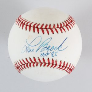 Lou Brock Signed Baseball Cardinals - COA