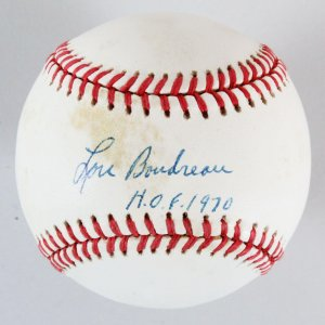 Lou Boudreau Signed Baseball Indians - COA PSA/DNA