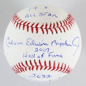 Cal Ripken Jr. Signed Baseball Inscribed Stats COA JSA