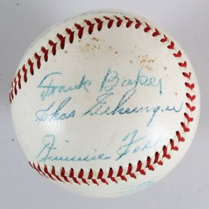 "Frank ""Home Run"" Baker Signed Baseball w/ 7 HOFers - COA JSA"