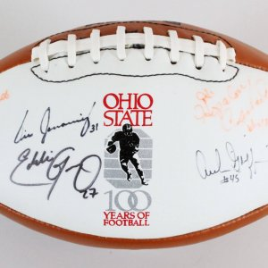 "Howard ""Hopalong"" Cassady Signed Football Ohio State w/ 5 Others - COA JSA"