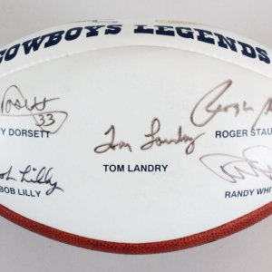 Tom Landry Signed Football Cowboys (5) Legends  - COA JSA