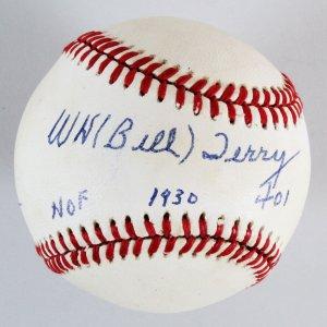 Bill Terry Signed Baseball Giants - COA PSA