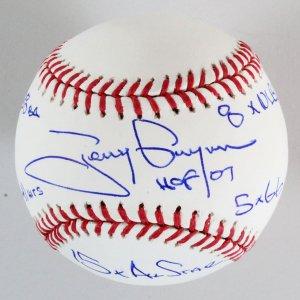 Tony Gwynn Signed Baseball Padres  6 Stats-  COA PSA