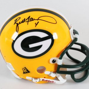 Brett Favre Signed Mini Helmet Packers - COA JSA