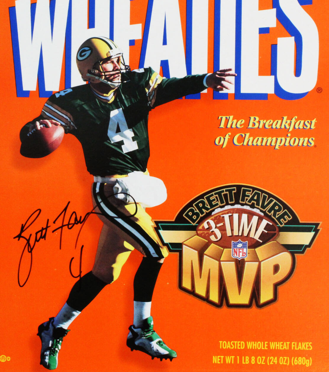 0cfe496d387 Brett Favre Signed Wheaties Box Packers – COA JSA