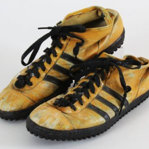 L.C. Greenwood Game-Worn Gold Shoes Steelers