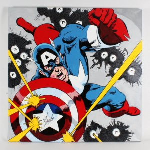 Steve Kaufman Artwork Captain America Signed by Stan Lee