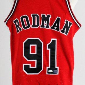 Dennis Rodman Signed Jersey Bulls - COA JSA