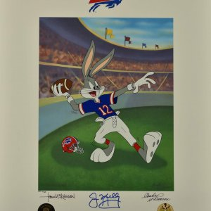 Jim Kelly signed Warner Bros. Buffalo Bills - Bugs Bunny
