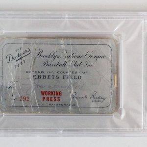 1947 Dodgers Jackie Robinson Debut Press Pass - PSA